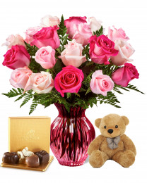 18 Spring Mixed Roses with Teddy and Godiva