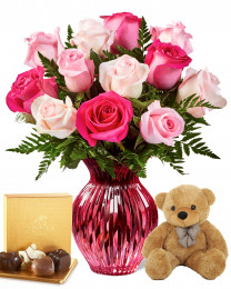 12 Spring Mixed Roses with Teddy and Godiva