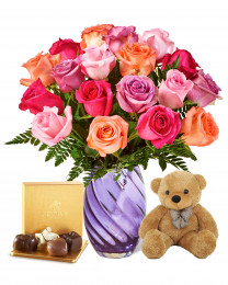 18 Shine Mixed Roses with Teddy and Godiva
