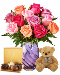 12 Shine Mixed Roses with Teddy and Godiva