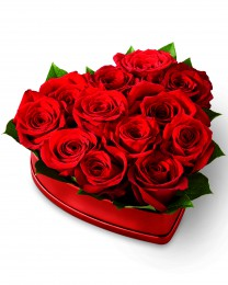 The Lovely Red Rose Heart Box