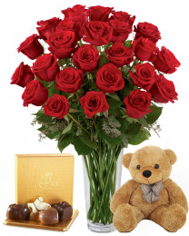 2 Dozen Red Roses with Vase, Godiva and Teddy Bear