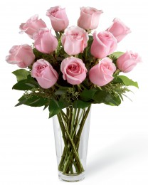 Pink Rose Bouquet with Vase - 12 Stems