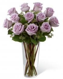 Lavender Rose Bouquet - 12 Stems of 20-inch Roses - VASE INCLUDED