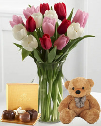 Here in My Heart Tulip Bouquet with Godiva and Teddy Bear